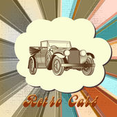 Retro vector card with car and multicolored stripped background — Stock Vector