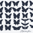 Collection of butterflies silhouettes — Vector de stock