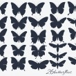 Collection of butterflies silhouettes — Cтоковый вектор
