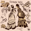 Collection of old-fashioned woman and accessories — Stock Vector #51799975
