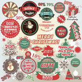 Christmas and New Year  vector labels set in retro style — Stock Vector