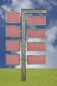 Poste indicador en blanco con 8 muestras — Foto de Stock