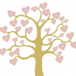 Hearts on tree — Stock Vector