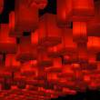 Hanging red lanterns - Stock Photo