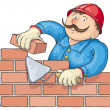 Stock Vector: Bricklayer At the Work