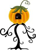 House pumpkin on the tree — Stock Vector