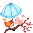 Stock Vector: Birds lovers to rain