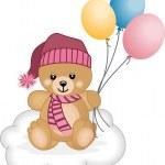 Winter teddy bear flying balloons — Stock Vector