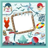 Digital frame nautical pirates — Stock Vector