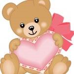 Cute teddy bear with heart — Stock Vector
