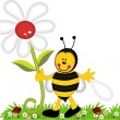 Happy bee holding flower in garden — Stock Vector