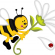 Bee flying holding flower — Stock Vector #13667529