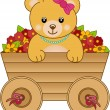 Cute little bear inside cart flowers — Stock Vector