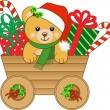 Christmas cart with teddy bear — Stock Vector