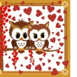 Love owls framed valentine — Stock Vector
