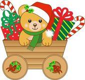 Christmas cart with teddy bear — Stock Vector