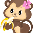 Girl monkey eating banana - Stock Vector