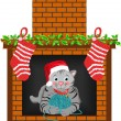 Christmas Cat Stocking — Stock Vector