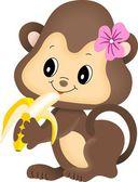 Girl monkey eating banana — Stock Vector