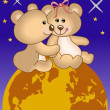 Teddy bears in love under the universe - Stock Vector