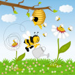 Bee watering flower in the forest — Stock Vector