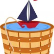 Toy boat in a bathtub barrel — Stock Vector
