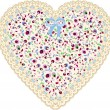 Lace heart cloth patch - Stock Vector