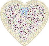 Lace heart cloth patch — Stock Vector