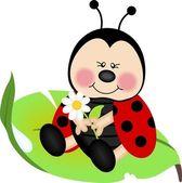 Yeşil yaprak üzerinde oturan uğur böceği — Stok Vektör