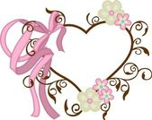 Cornice cuore con fiocchi e fiori — Vettoriale Stock