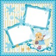 Stock Vector: Digital scrapbooking layout teddy bear taking bath
