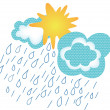 Sun comes out rain clouds - Stock Vector