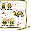 Cute bees in love of a digital collage - Stock Vector