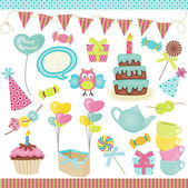 Birthday party elements — Vector de stock