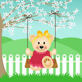 Little Bear on Swing — Stok Vektör
