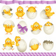 Stock Vector: Easter eggs chicks