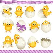 Chicas de huevos de pascua — Vector de stock