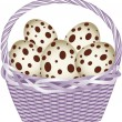 Basket with easter quail eggs — Stock Vector