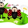 Two cute ladybugs in garden — Stock Vector