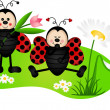 Two cute ladybugs in garden - Stock Vector