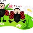 Two cute ladybugs in garden — Stock Vector #19266015