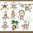 Stock Vector: Monkey in varying positions