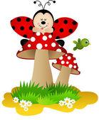 Marienkäfer auf einem pilz — Stockvektor