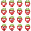 Strawberries with emotions - Stock Vector