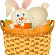 Bunny in a basket with carrots - Stock Vector