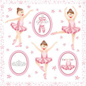 Pink ballerina digital collage — Stock Vector
