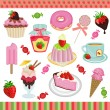 Strawberry candies digital collage — Stock Vector