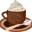 Coffee cup with whipped cream — Stock Vector
