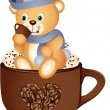 Teddy bear drinking hot coffee — Stock Vector