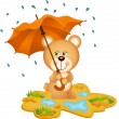 Teddy Bear Under Umbrella — Stock Vector